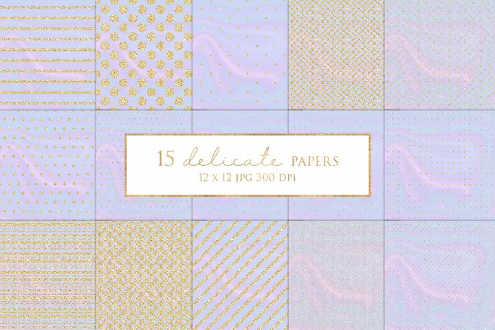 15 Gold Glitter Stripes and Dots Digital Paper Pack