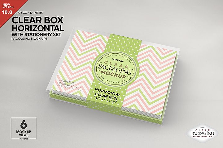 Clear Horizontal Boxes with Stationery Set Packaging Mockup