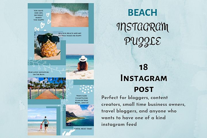 Instagram Puzzle Template Canva- Beach