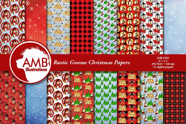 Christmas Gnome, Rustic Lumberjack gnome papers AMB-2682