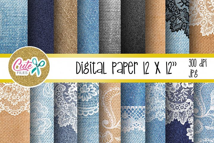 Denim and lace digital paper for scrapbooking