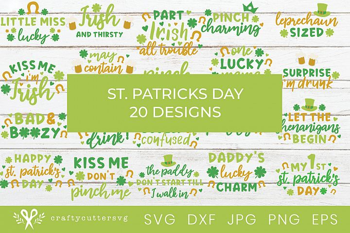 St. Patricks Day Shirt Svg Bundle 20 designs DIY Designs