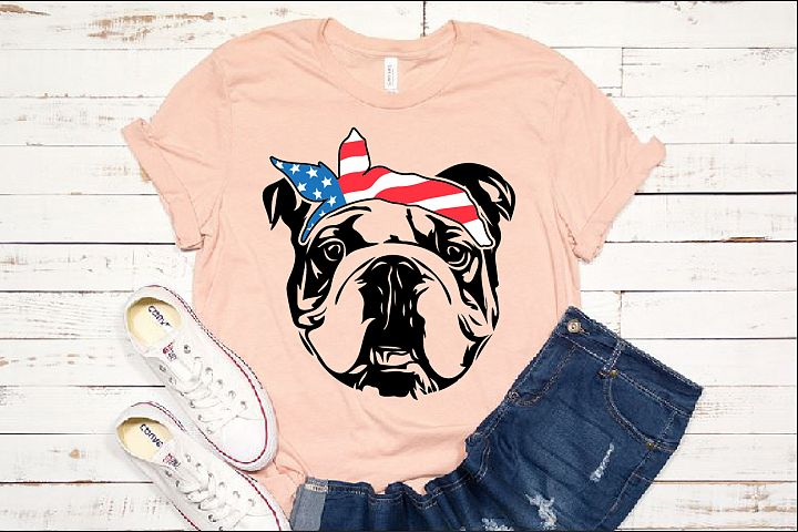 Bulldog USA Bandana Head French Dog 4th July 1370S