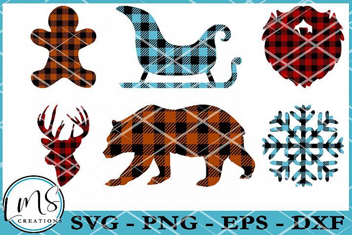 Buffalo Plaid Pattern Christmas Shapes SVG, PNG, EPS, DXF