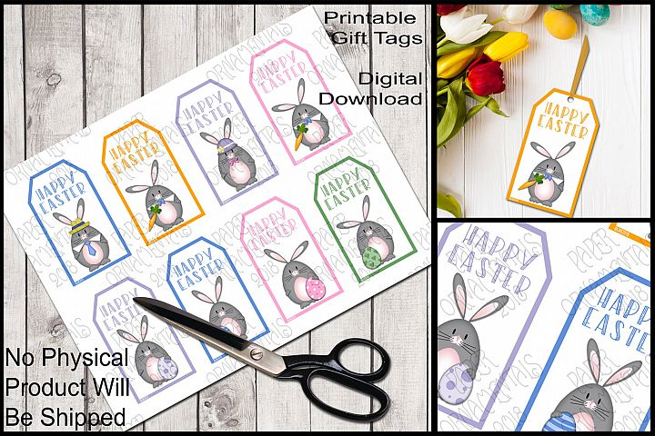 Printable Easter Gift Tags, Gray Bunnies