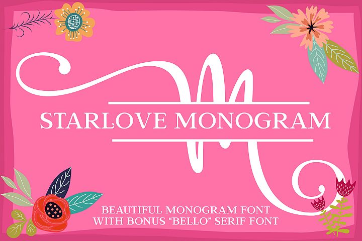 Starlove Monogram Font & Bonus Serif Font