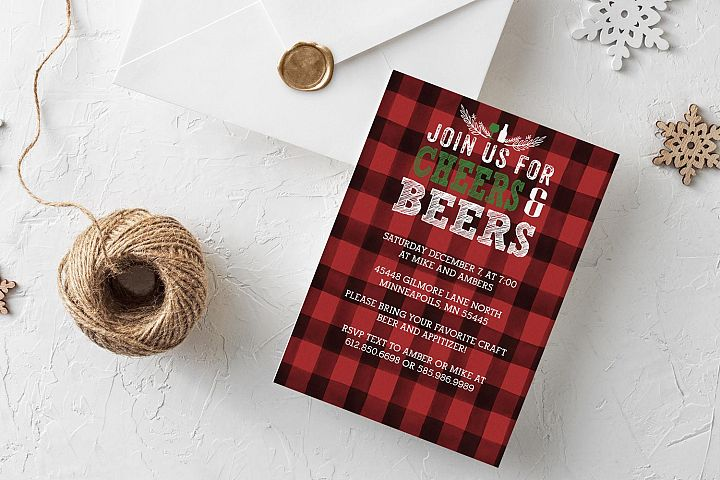Cheers & Beers holiday invitation Illustrator template