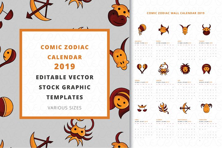 Comic Zodiac Calendar 2019 Vector Templates