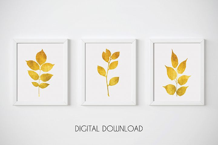 Gold Leaf Prints, Gold Print Set, Gold Botanical Prints