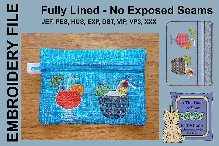 ITH Tropical Drinks Zipper Bag - Fully Lined, 5X7 HOOP