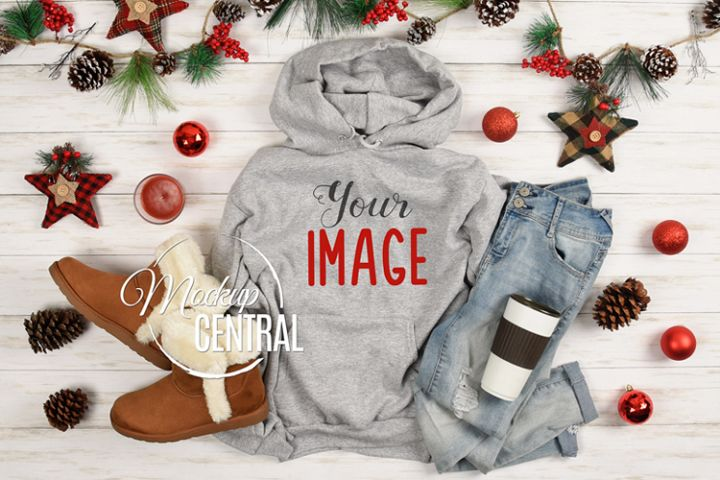 Christmas Gray Hoodie Sweatshirt Mockup, Grey Shirt Mock Up