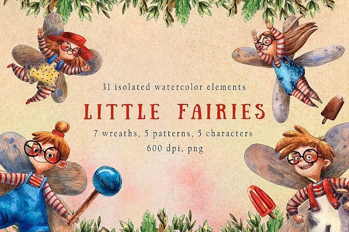 Little Fairies - Watercolor Clip Art Set