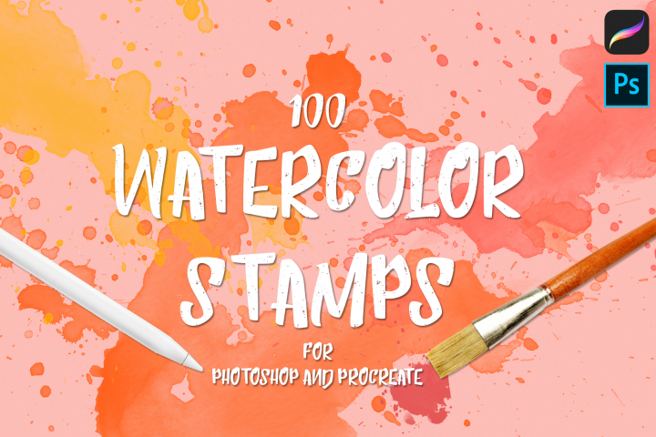 100 Watercolor Stamp Brushes for Procreate and PS