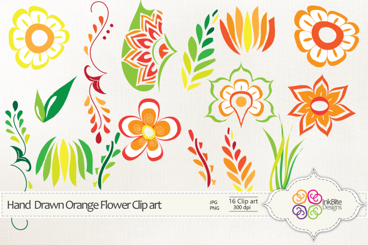 Hand Drawn Orange Flowers Clipart