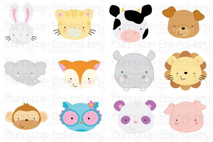 Animal Faces Bundle - Clipart and SVG - 12 Different Designs