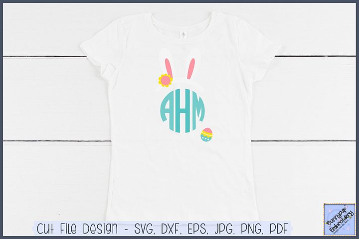 Girl Bunny Ears Monogram Topper - SVG and Clipart