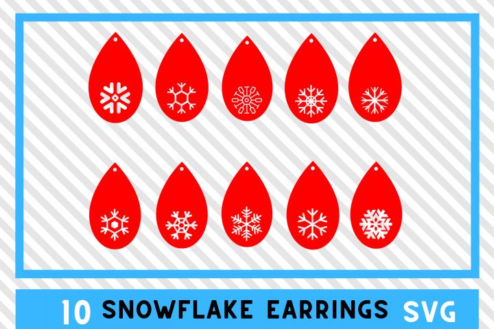 10 Christmas Snowflake Earrings SVGs