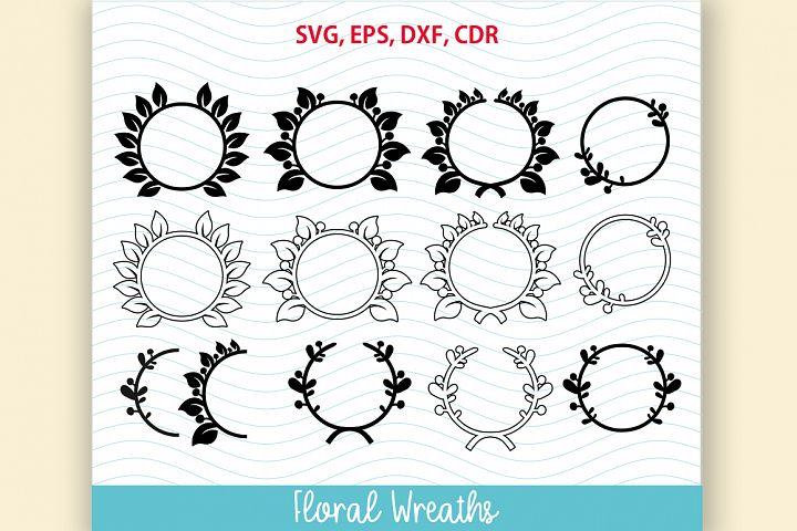 12 flower frame SVG Floral Wreath Set
