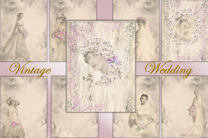 Vintage Wedding Backgrounds A4 Letter size. Commercial Use