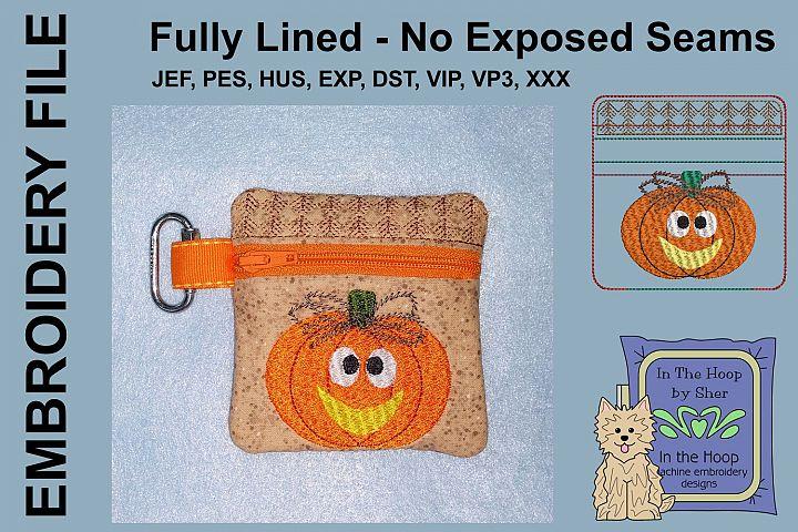 Prim Pumpkin Mini Zipper Bag / Fully Lined, 4X4 HOOP