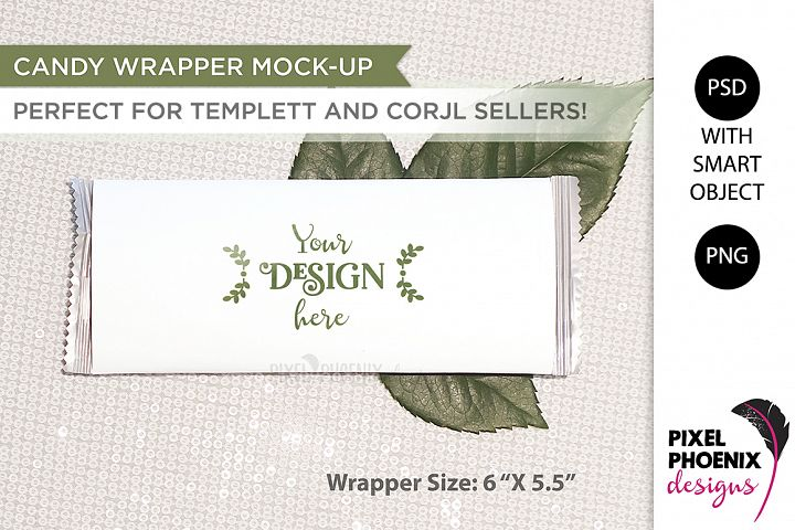 Candy Wrapper Mockup with leaves