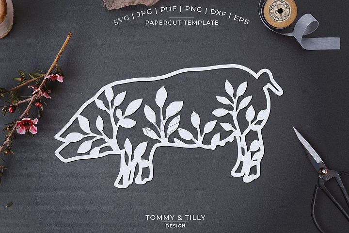 Foliage Pig x 3 - Papercut Template SVG EPS DXF PNG