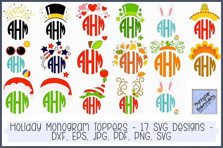 Holiday Monogram Toppers - 17 SVG, Clipart and Printables