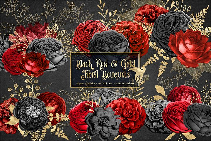 Black Red and Gold Floral Clipart