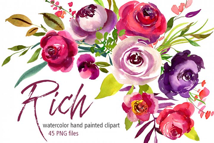 Rich watercolor flowers roses PNG