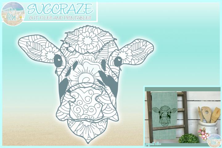 Cow Face Mandala Zentangle SVG