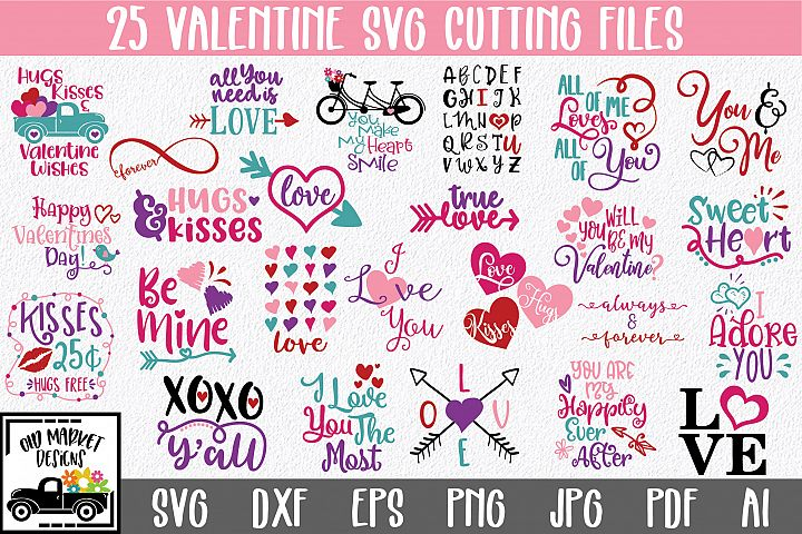 Valentine SVG Bundle with 25 SVG Cut Files DXF EPS PNG