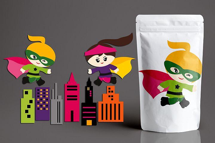Superhero buildings and running girls graphics