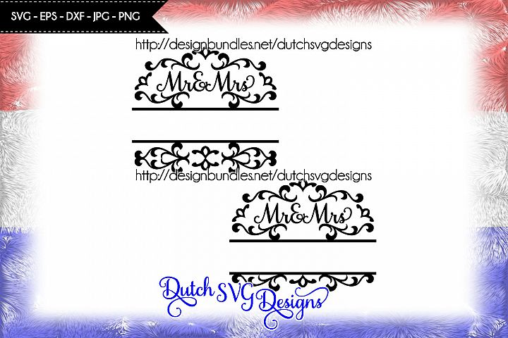 2 Split monogram Mr and Mrs cut files, mr mrs monogram svg