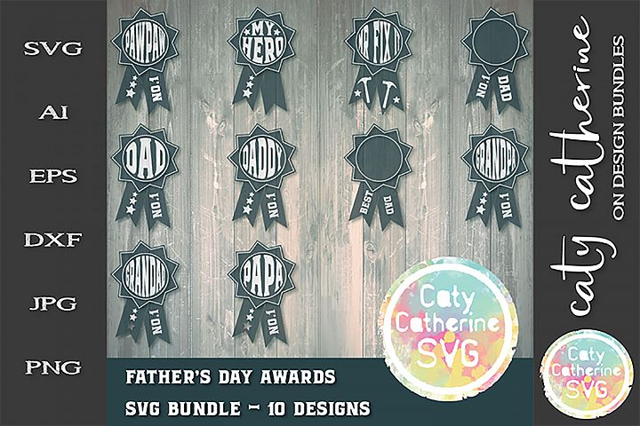 Fathers Day Award Bundle 10 Designs SVG Cut File
