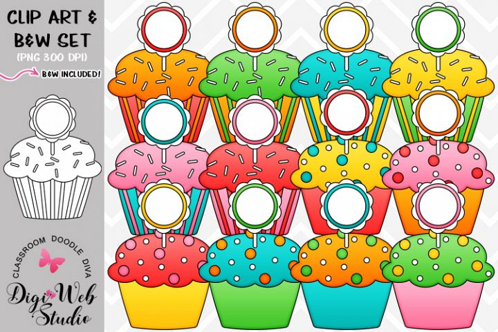 Clip Art / Illustrations - Cupcakes w/ Blank Toppers