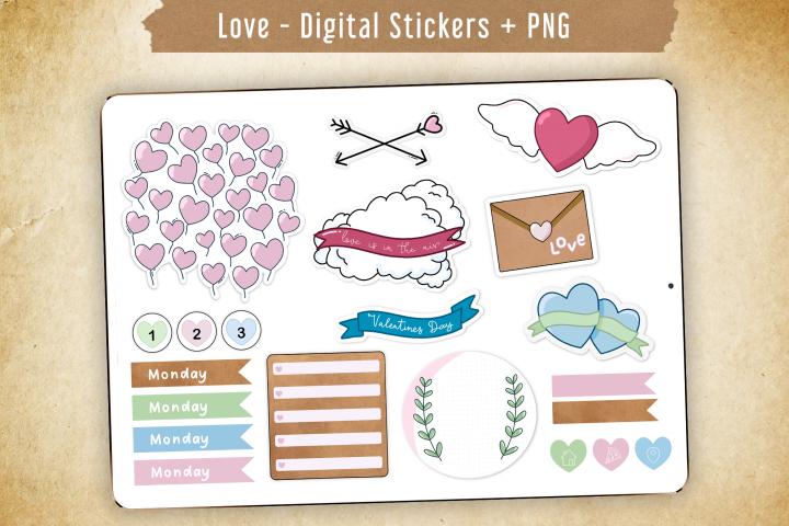 Love Digital Stickers Kit. Valentines Day & year-round