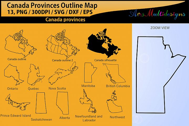 Canadian Provinces outline map / SVG / EPS / PNG / Dxf