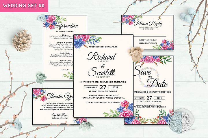 Wedding Invitation Set #8 Watercolor Floral Flower Style