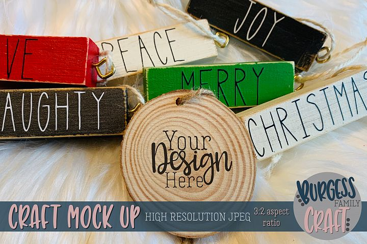 Wood round ornament Craft mock up |High Res JPEG
