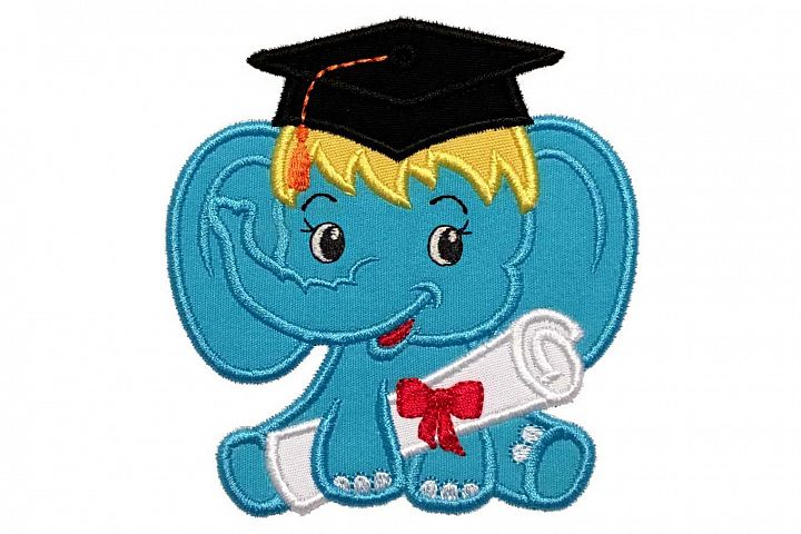 Graduation Baby Girl Elephant Machine Embroidery Applique Design.