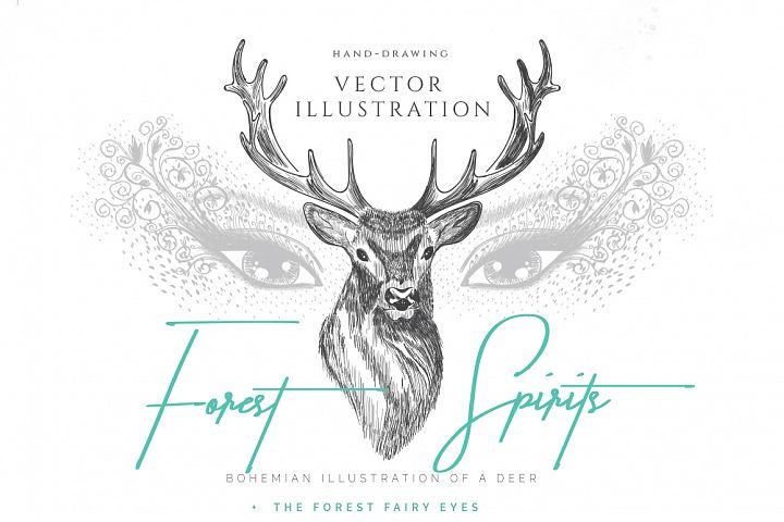 BOHEMIAN DEER ILLUSTRATION