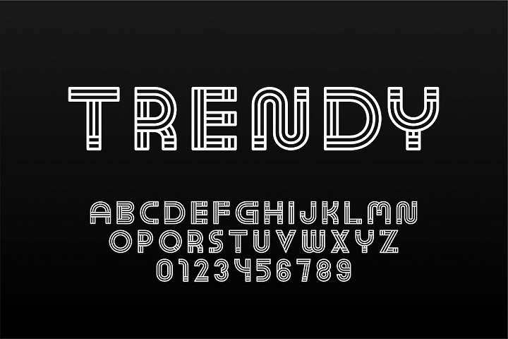 English trendy striped alphabet