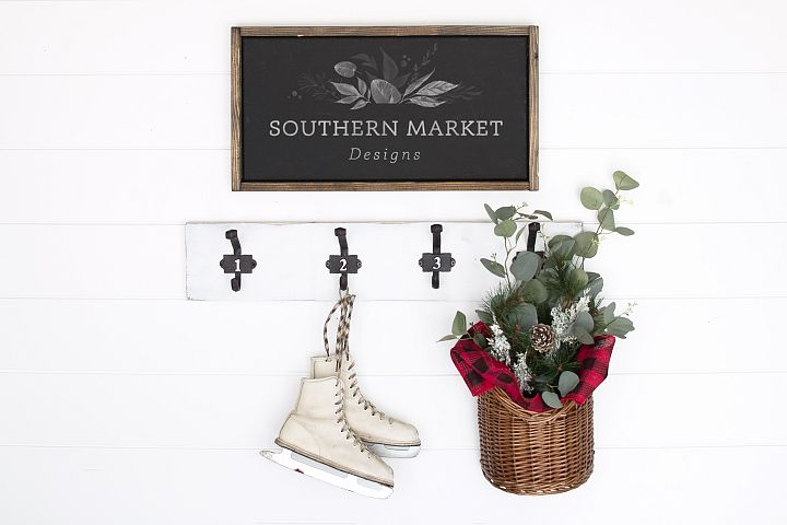 12x20 Christmas Wood Sign Mock Up Styled Photography