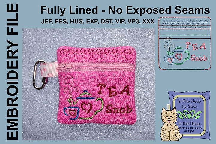 Tea Snob Tea Bag Holder Zipper Bag / Fully Lined, 4X4 HOOP