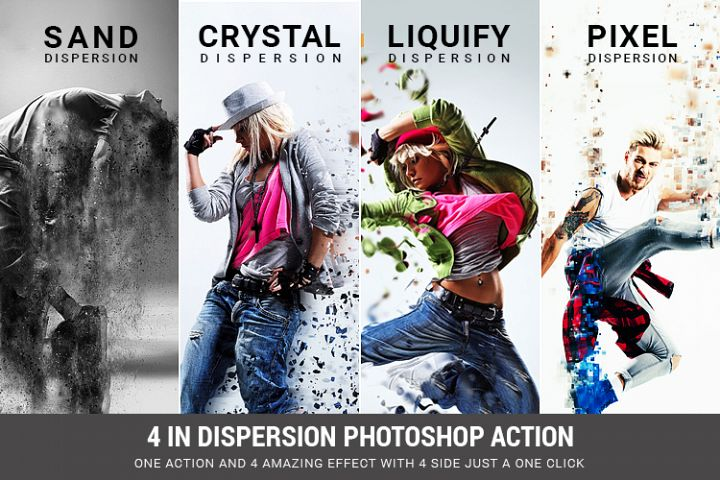 4 in 1 Dispersion Photoshop Action
