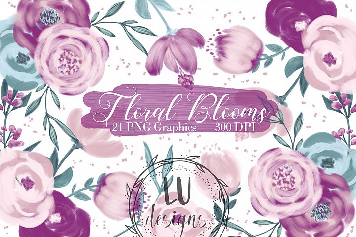 Burgundy and Pink Flowers Clipart, Floral Wedding Bouquets
