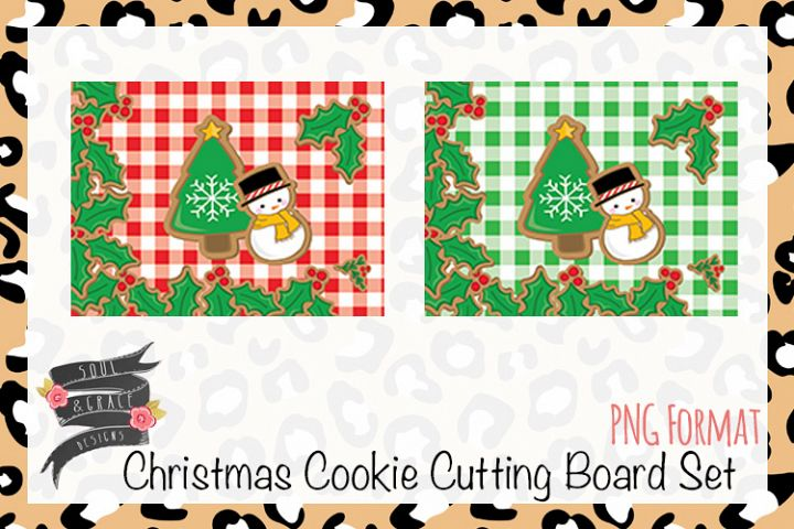 Christmas Cookie Cutting Board Set