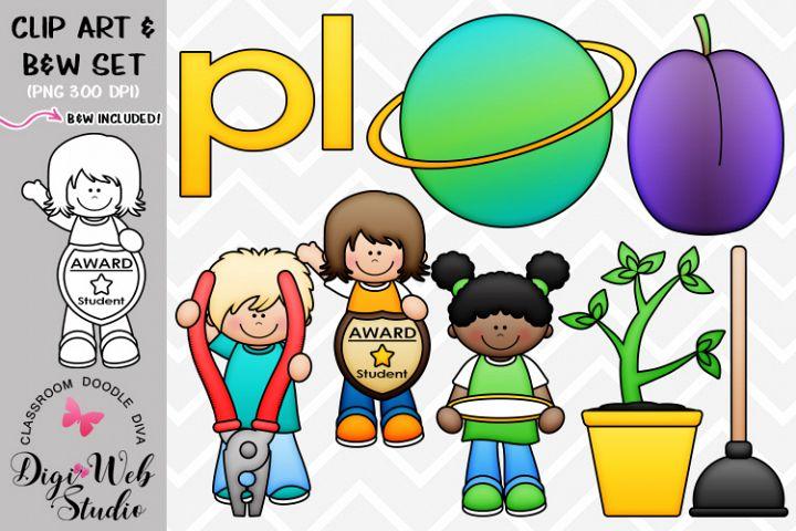 Clip Art / Illustrations - L Blends - pl Phonics