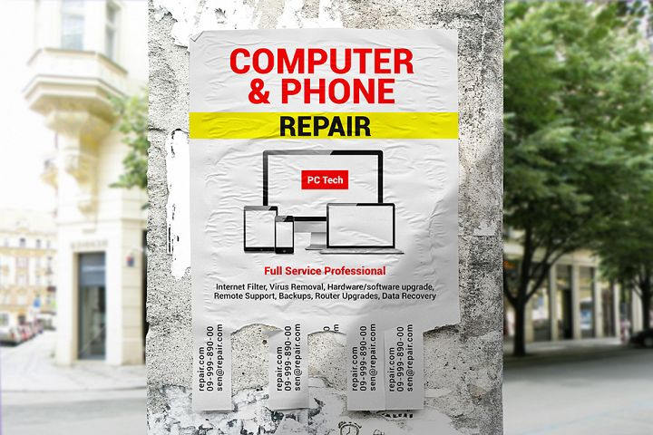 Tear-off Ad Flyer Mockup v.2