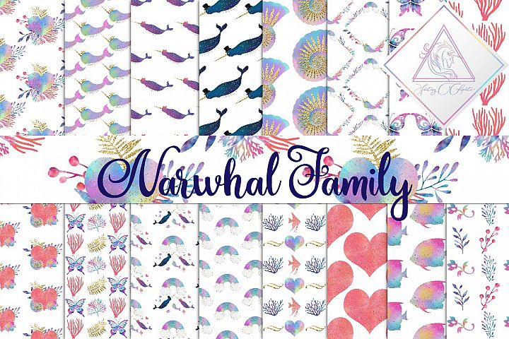 Narwhal Family Digital Paper